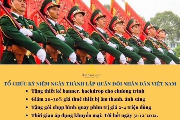 Ưu đãi dịch vụ tổ chức lễ kỷ niệm ngày thành lập Quân đội nhân dân Việt Nam 22-12.