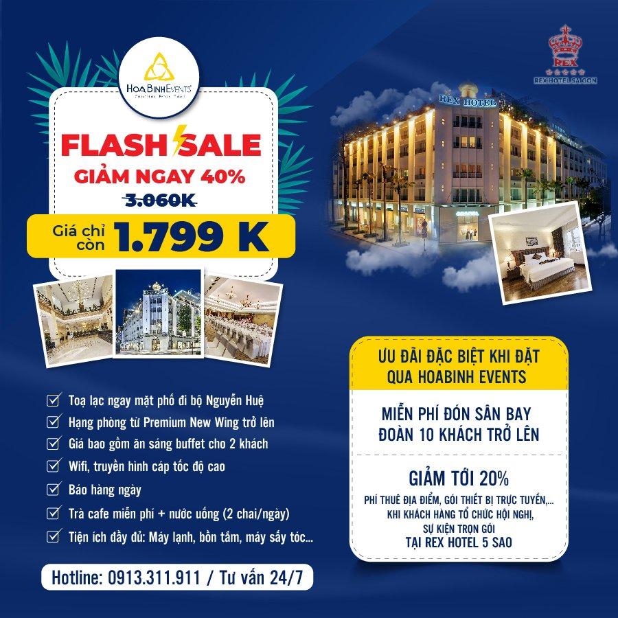 HoaBinh Events Flash sale - giảm ngay 40% giá phòng Rex Hotel Sài Gòn 5*